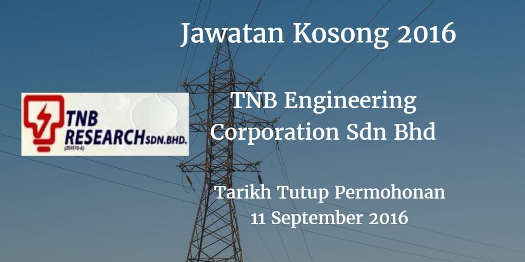 Jawatan Kosong TNB Engineering Corporation Sdn Bhd 11 September 2016