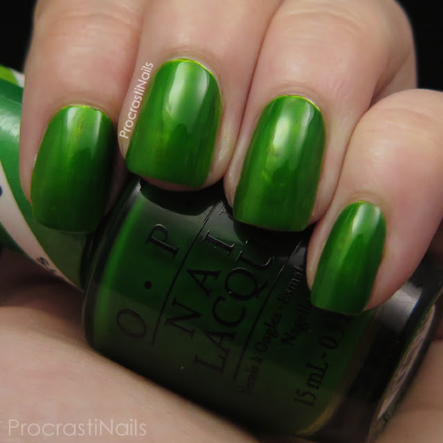 Swatch of OPI Landscape Artist which is a grass green jelly polish
