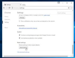 Membersihkan virus pada Google Chrome dengan reset setting