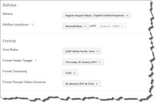 seting bahasa dan pemformatan di blogspot