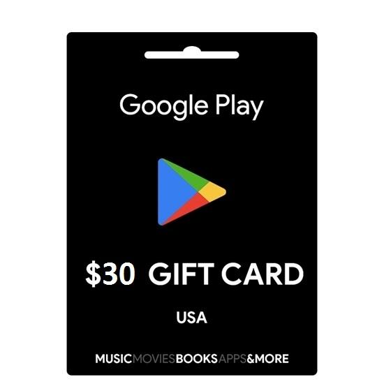 thẻ gift cards google play 30$ hệ mỹ 720.000 VNĐ