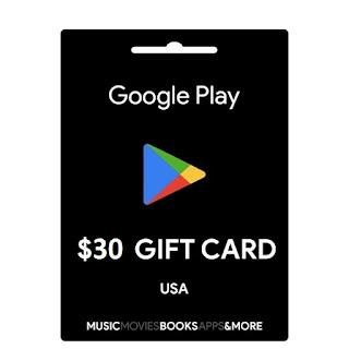 thẻ gift cards google play 30$ hệ mỹ<br><br>  720.000 VNĐ