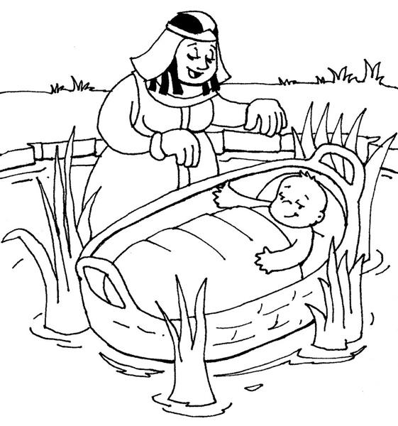Desenho Biblico Para Pintar Moises No Cesto De Junco