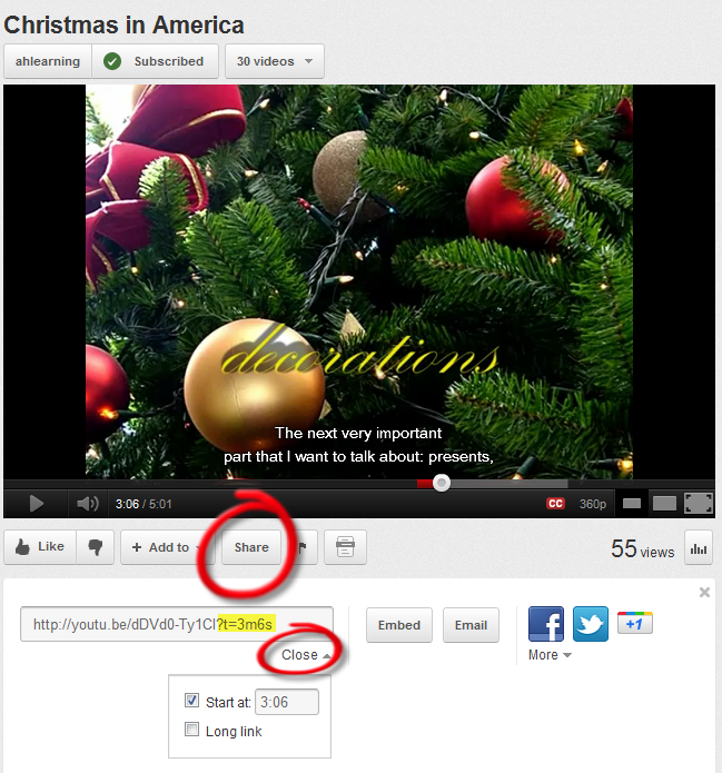 G-learning: How to start a YouTube video at certain time (link & embed)