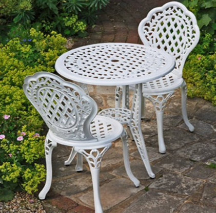 White Ivy Cast Aluminum Bistro Set