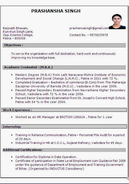 MBA HR 1 Year Experience Resume