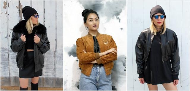 1. Faux leather jacket  2. 90s camel tan bomber jacket  3. Black bomber jacket