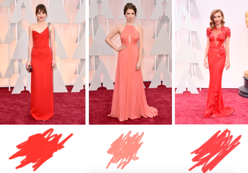 dakota johnson saint laurent, anna kendrick jenny packham, giuliana rancic steven khalil oscars 2015