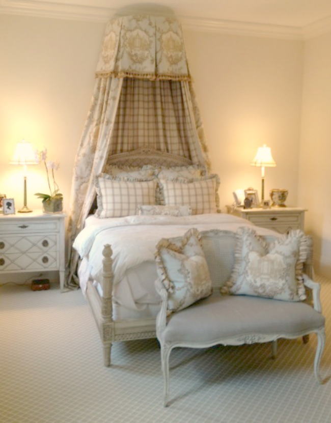 Sophisticated French inspired neutral decor Enchanted Home bedroom in French chateau