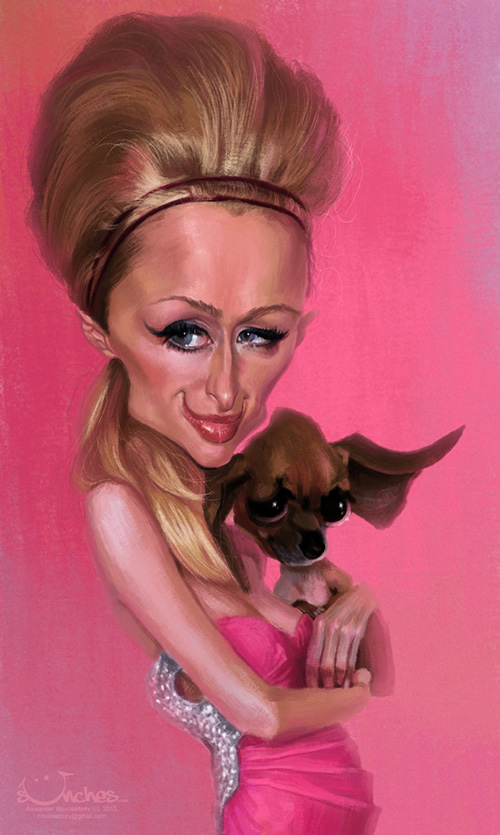 "Caricatura de ""Paris Hilton"" por Alexander Novoseltev"