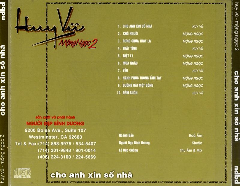 Người Đẹp Bình Dương CD - Huy Vũ, Mộng Ngọc - Cho Anh Xin Số Nhà (NRG)
