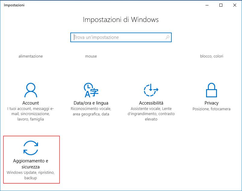 Windows 10 - Impostazioni, Aggiornamento e sicurezza