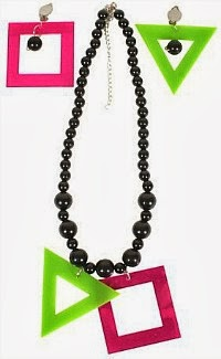 80s Beads Necklace and Earrings Set