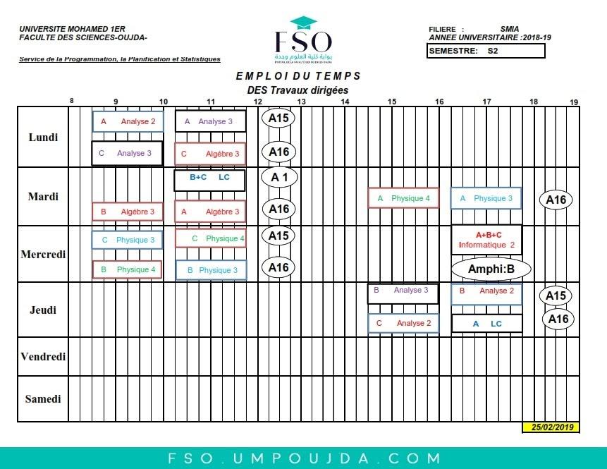 Emplois du Temps des TDs SMIA S2 - Session Printemps 2018/2019
