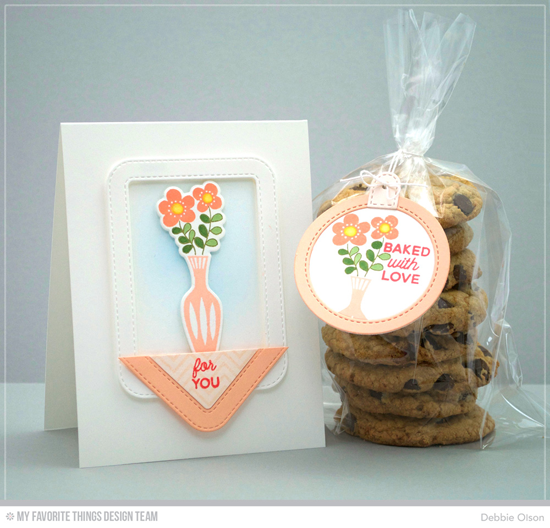Handmade card and treat tag from Debbie Olson featuring Kitschy Kitchen Card Kit, Laina Lamb Design Cookie Crumbs stamp set, Diagonal Chevron Background stamp, Stitched Rounded Rectangle Frames, Stitched Rounded Square Frames, and Tag Builder Blueprints 6 Die-namics #mftstamps