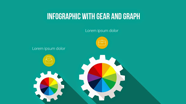 Gear Diagram elements for free PowerPoint Template