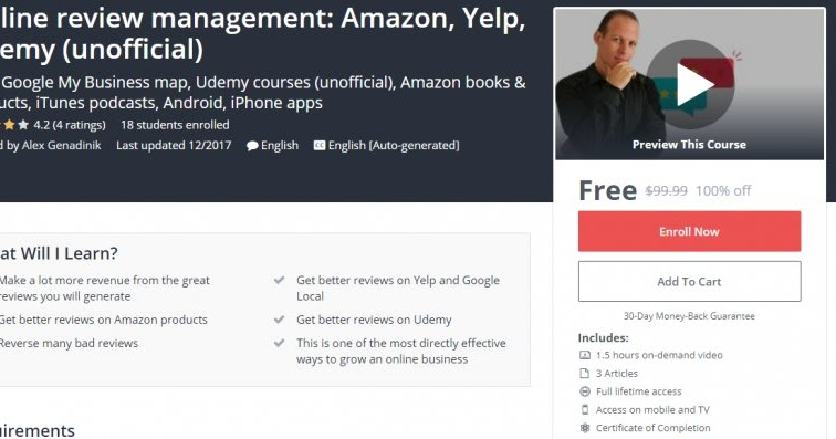100% Off] Online review management: Amazon, Yelp, Udemy