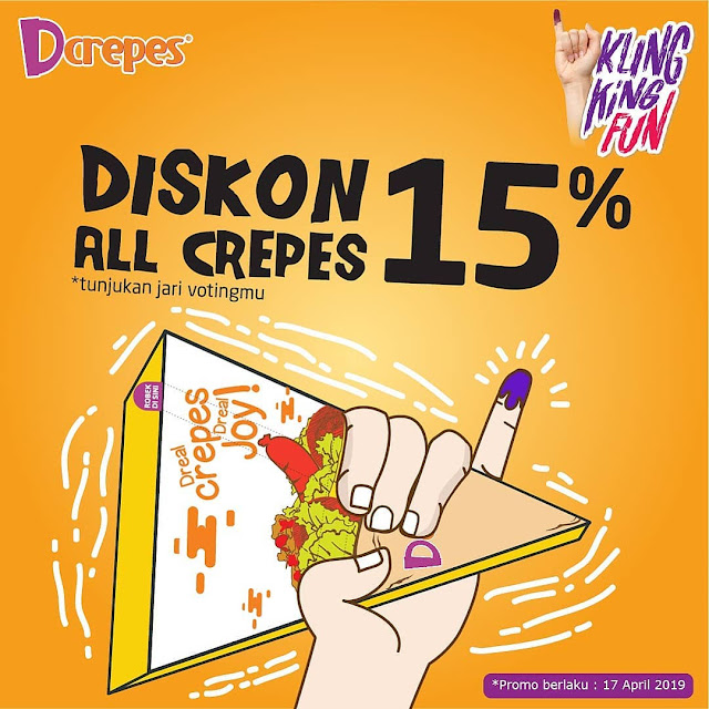 #Dcrepes - #Promo KlingKing Fun Diskon 15% All Crepes (17 April 2019)