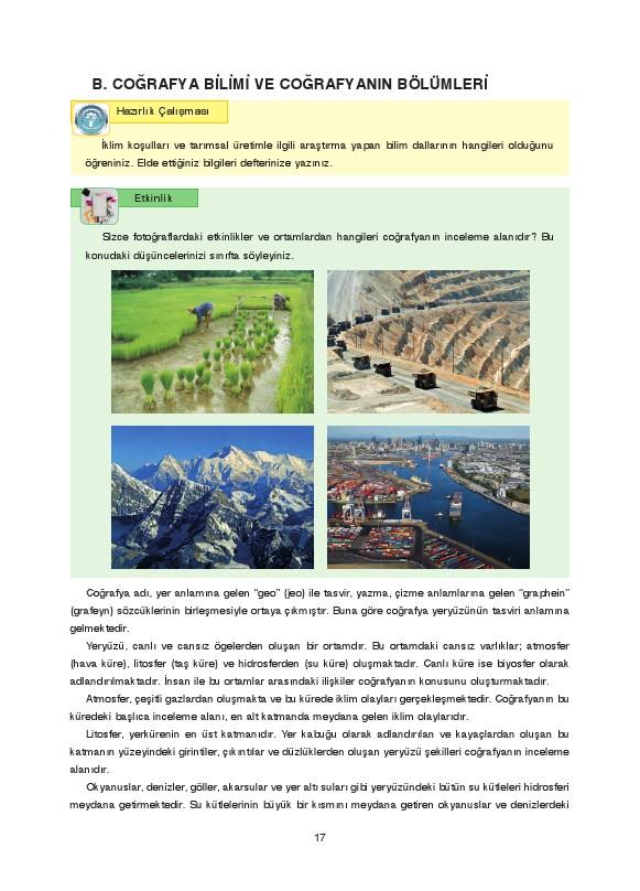 9. Sınıf Coğrafya Ders Kitabı Cevapları Fersa Yayınları Sayfa 17