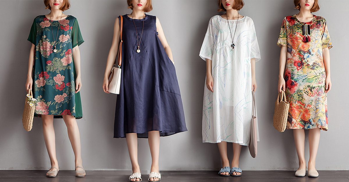 03b05052cf Several beautiful cotton linen casual plus size dresses for summer.  Charming Women Casual Loose Floral Long Sleeve Dress. Printing Summer Short  Sleeves ...