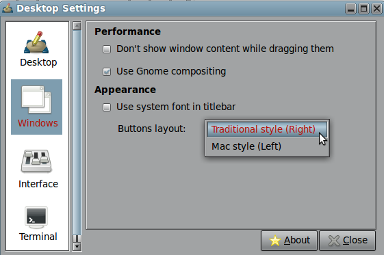 Windows button layout right to left in LinuxMint Mate ~ Net Gator