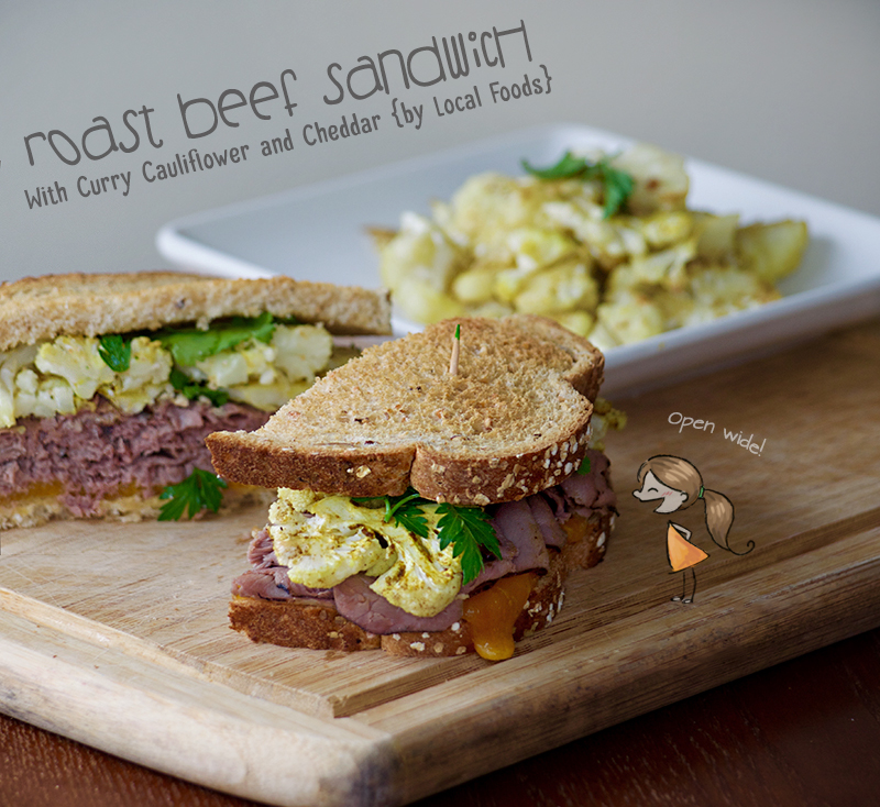 roast beef sandwich local foods kale salad horseradish cauliflower curry