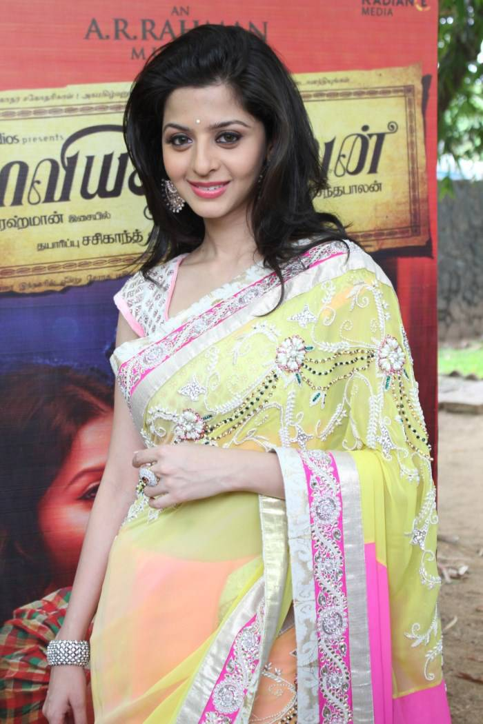 Vedhika Long hair In Lemon Yellow Saree At Press Meet