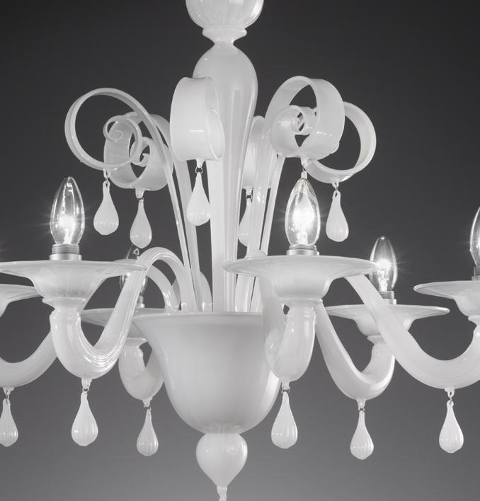 Chandelier 911 6 Lights In White Murano Glass