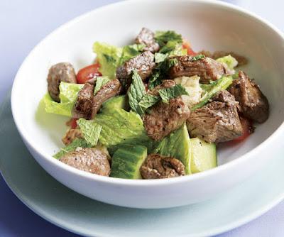 Grilled Lamb Kebab Salad with Cucumber, Tomatoes & Pita