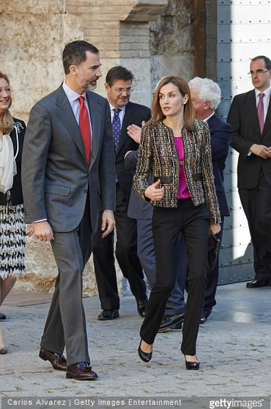 King Felipe VI of Spain and Queen Letizia of Spain visit the Aljaferia Palace on March 10, 2015 in Zaragoza, Spain.