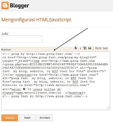 Teknik Melakukan Ping Blog dengan Tool Online Teknik Melakukan Ping Blog dengan Tool Online