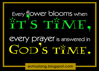 Every flower blooms when it's time, every prayer is answered in God's time.