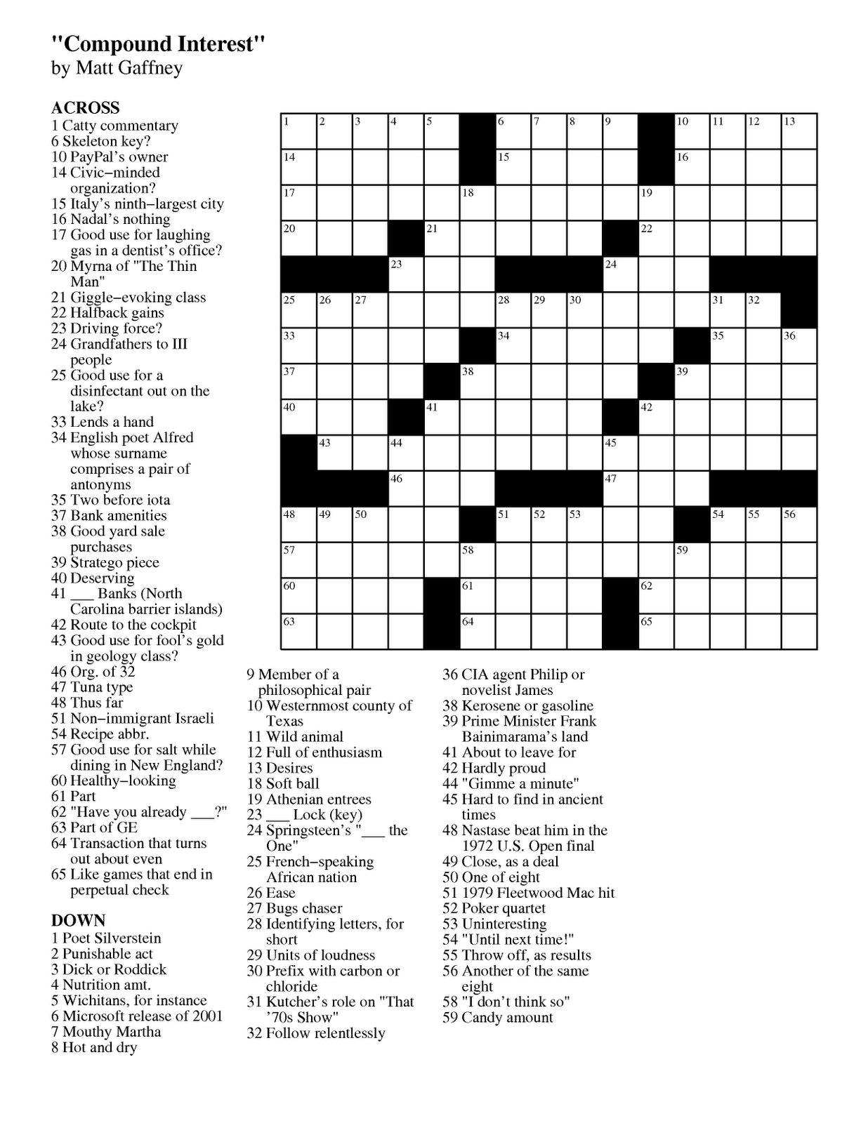 Matt Gaffney's Weekly Crossword Contest: August 2012
