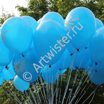 Гелиевые воздушные шары с логотипом на раздаче