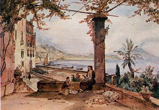 A painting by Achille Vianelli of the coastline at Posillipo. Vianelli was a member of the Posillipo School.