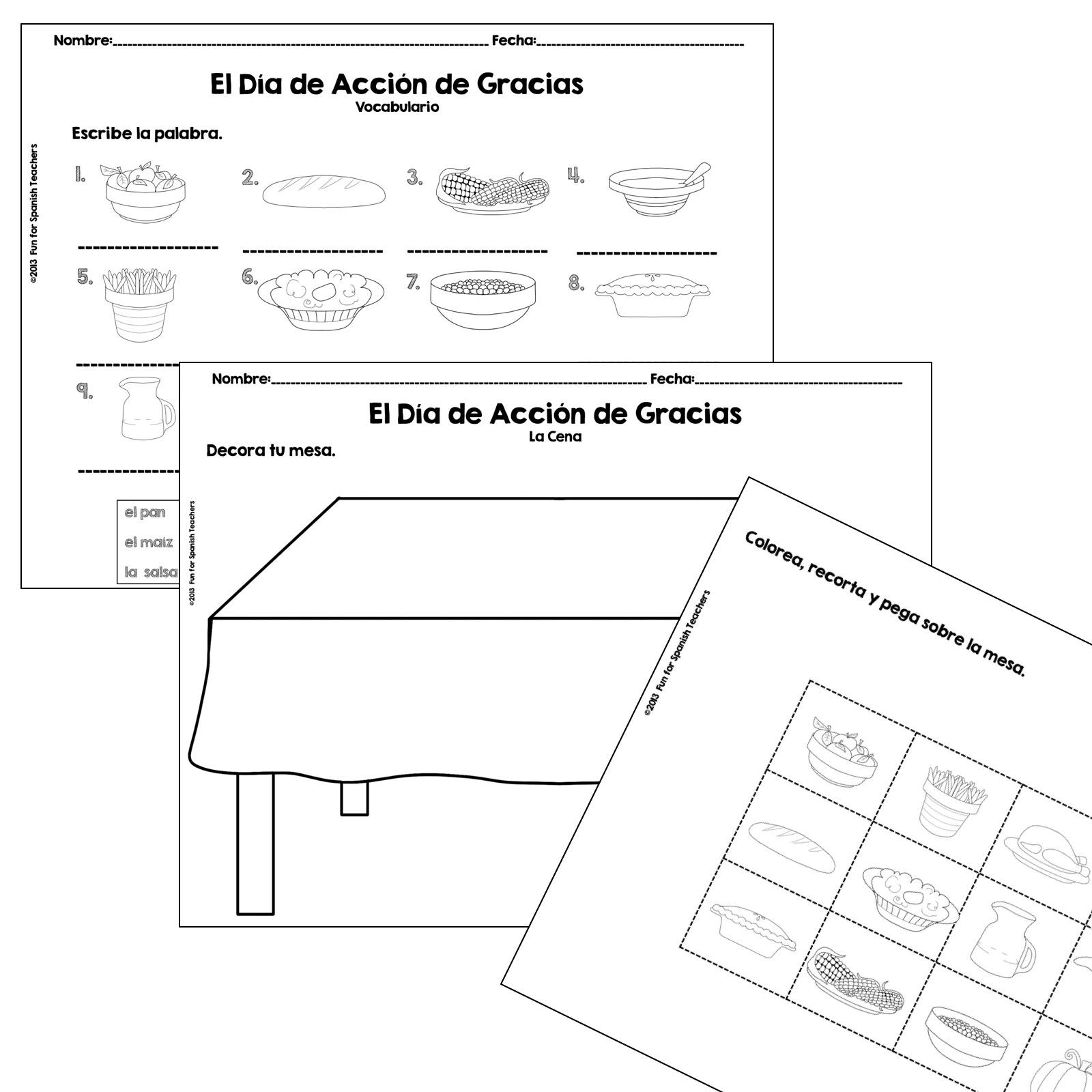 roll a thanksgiving dinner in spanish product funforspanishteachers. Black Bedroom Furniture Sets. Home Design Ideas