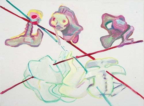 "por Maria Lassnig, ""Lines of Fate, Re-lations VIII - 1994."