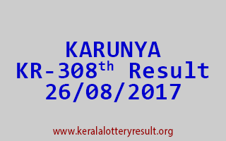 KARUNYA Lottery KR 308 Results 26-8-2017