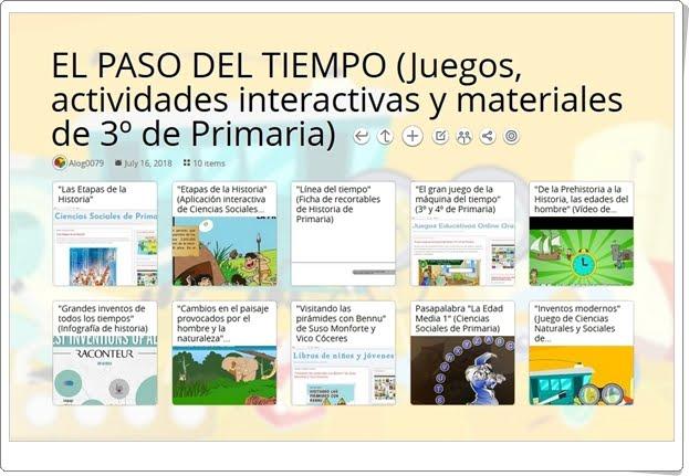 """""""10 Juegos, actividades interactivas y materiales para el estudio de EL PASO DEL TIEMPO en 3º de Primaria"""""""