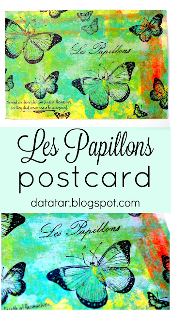 Les Papillons Butterfly Mixed Media Postcard by Dana Tatar for Canvas Corp Brands Swap
