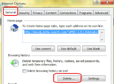 delete Browsing History in Internet Explorer