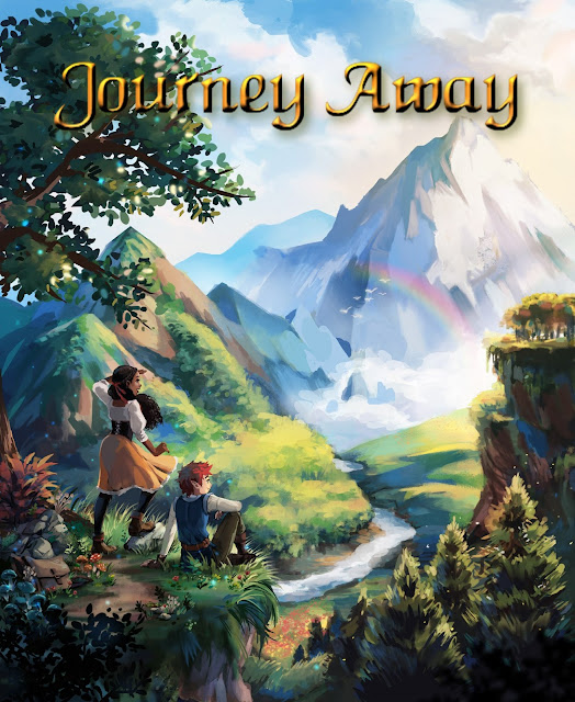 "A scenic view of a forest, hills, and mountains, with trees peeking into view. Two people sit and look off a gentle cliff, one in a vest, long sleeved shirt, pants, and boots, and the other in a skirt, tights, waist cincher, shirt, and boots. The title text ""Journey Away"" is in gold."