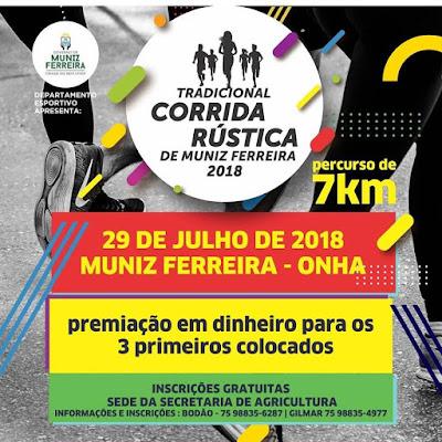 Muniz Ferreira promoverá a edição 2018 da Tradicional Corrida Rústica de Muniz Ferreira.