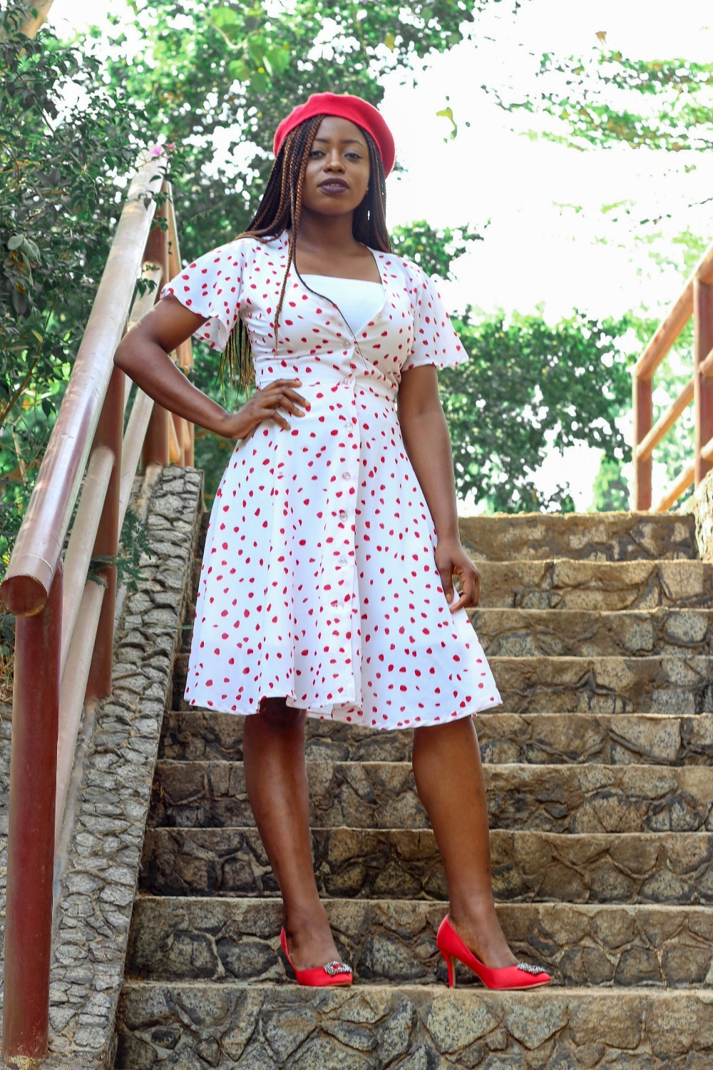 polkadot dress and red beret
