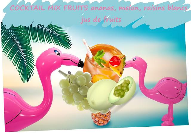 Jus de fruits avec morceaux entiers, ananas, melon, raisins blancs, jus de raisins