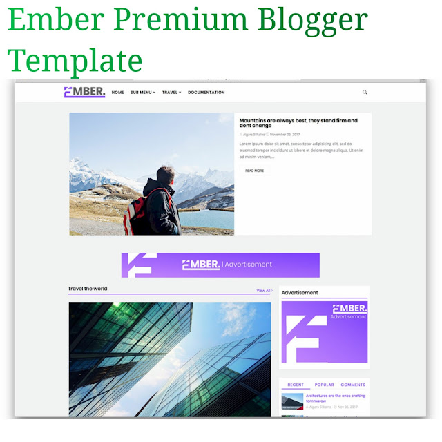 Ember advanced premium blogger template
