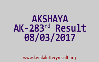AKSHAYA Lottery AK 283 Results 8-3-2017