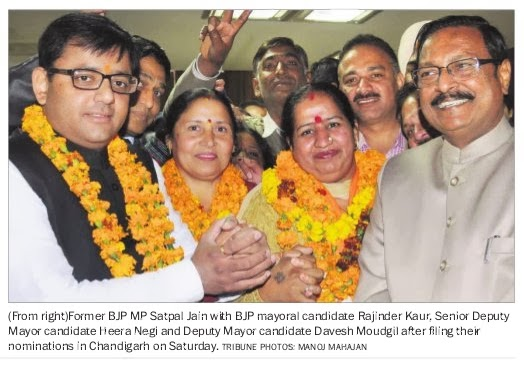 Former BJP MP Satya Pal Jain with BJP mayoral candidate Rajinder Kaur, Senior Deputy Mayor candidate Heera Negi & Deputy Mayor candidate Davesh Moudgil after filing their nominations in Chandigarh on Saturday.