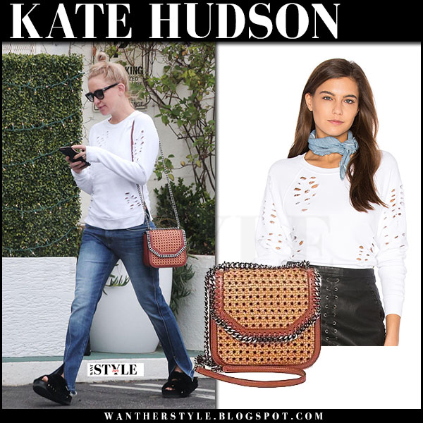 Kate Hudson in white destroyed sweatshirt black orchid what she wore may 31 2017