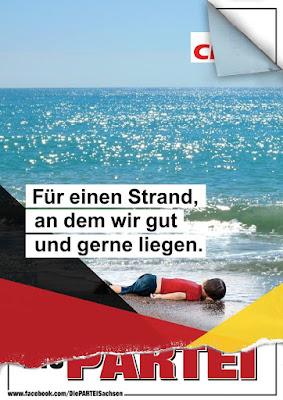 Partei Plakat Kind ertrunken flüchtling geschmacklos kritik